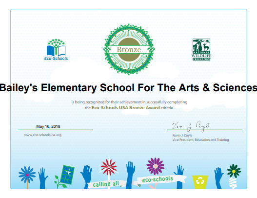 Bailey's Eco-Schools Bronze award