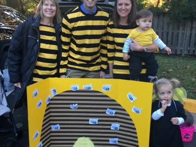 Ms. Davis, Mr. Cooper and Dr. Easa are busy at their bee hive display!