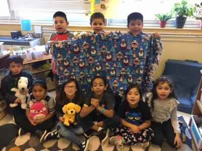 Penguin blanket by Mrs. Giacomo's class.